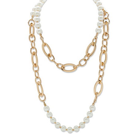 """Round Simulated Pearl Double-Strand Rolo-Link Necklace in Gold Tone 44"""" at PalmBeach Jewelry"""