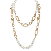Round Simulated Pearl Double-Strand Rolo-Link Necklace in Gold Tone 44""