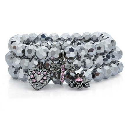"""Grey Simulated Hematite and Pink Crystal Antiqued Silvertone 3-Piece Beaded Stretch Charm Bracelet Set 8"""" at PalmBeach Jewelry"""