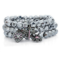 Grey Simulated Hematite and Pink Crystal Antiqued Silvertone 3-Piece Beaded Stretch Charm Bracelet Set 8""