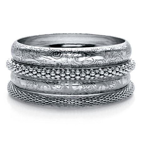 """Floral, Studded and Diamond Cut 4-Piece Bangle Bracelet Set in Antiqued Silvertone 8"""" at PalmBeach Jewelry"""