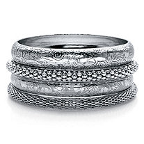 Floral, Studded and Diamond Cut 4-Piece Bangle Bracelet Set in Antiqued Silvertone 8""