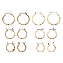 Assorted Diamond-Cut 6-Pair Hoop Earring Set in Braided, Banded and Polished Styles in Gold Tone 1.25""
