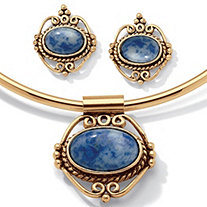 Oval Simulated Blue Lapis 2-Piece Earring and Pendant Necklace Set in Antiqued Gold Tone 16""
