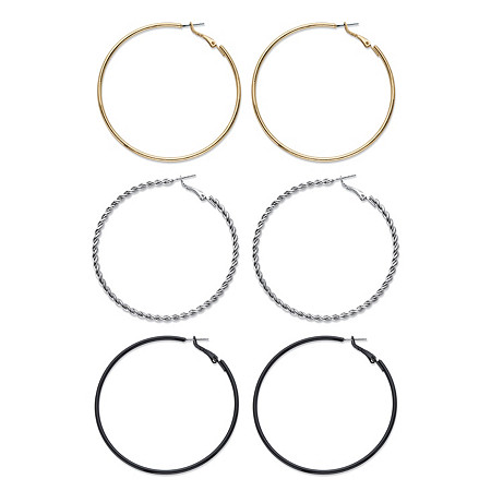 "Tri-Tone Polished and Twisted 3-Pair Hoop Earring Set in Silvertone, Black Ruthenium-Plated and Gold Tone 2.5"" at PalmBeach Jewelry"
