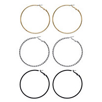 Tri-Tone Polished and Twisted 3-Pair Hoop Earring Set in Silvertone, Black Ruthenium-Plated and Gold Tone 2.5