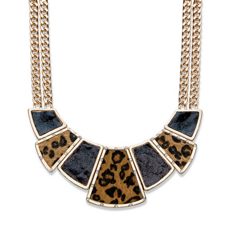 """Crystal, Enamel and Suede Gold Tone Leopard Print Geometric Double Strand Necklace 16""""-19"""" at PalmBeach Jewelry"""