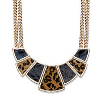 "Crystal, Enamel and Suede Gold Tone Leopard Print Geometric Double Strand Necklace 16""-19"""