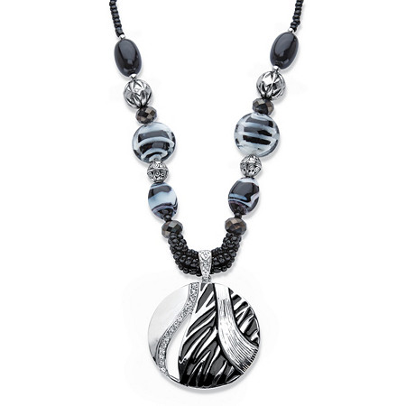 "Black and White Enamel and Crystal Beaded Medallion Statement Pendant Necklace in Silvertone 18""-21"" at PalmBeach Jewelry"
