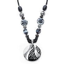 Black and White Enamel and Crystal Beaded Medallion Statement Pendant Necklace in Silvertone 18
