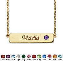 Round 14k Gold-Plated Birthstone Personalized I.D. Necklace 7.5""
