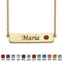 """Round Birthstone 14k Gold-Plated Personalized I.D. Necklace 7.5"""""""