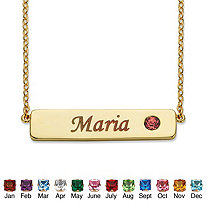 """Round 14k Gold-Plated Birthstone Personalized I.D. Necklace 7.5"""""""