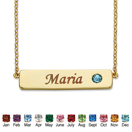 "Round Birthstone 14k Gold-Plated Personalized I.D. Necklace 7.5"" at PalmBeach Jewelry"