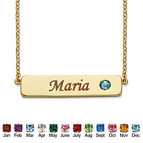 Round Simulated Birthstone 14k Gold-Plated Personalized I.D. Necklace 7.5""
