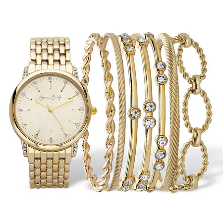 """Crystal Accent 8-Piece Fashion Watch with Gold Face and Bangle Bracelet Set in Gold Tone 8"""" at PalmBeach Jewelry"""
