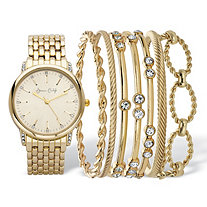 Crystal Accent 8-Piece Fashion Watch with Gold Face and Bangle Bracelet Set in Gold Tone 8""