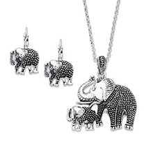 "Mother and Baby Elephant 2-Piece Stippled Earring and Necklace Set in Antiqued Silvertone 17""-20"""