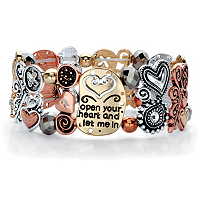 Crystal Accent Open Your Heart And Let Me In Beaded Stretch Bracelet