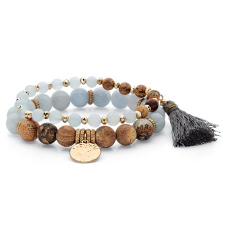 "Grey and Brown Simulated Tiger's Eye Gold Tone Beaded 2-Piece Fringe and Hammered Coin Stretch Bracelet Set 7"" at PalmBeach Jewelry"