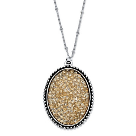 "Butterscotch Crystal Oval Cluster Pendant Necklace with Beaded Chain in Antiqued Silvertone 18""-20"" at PalmBeach Jewelry"