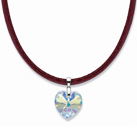 "Heart-Shaped Yellow Crystal Pendant Necklace with Magnetic Red Leather Cord in Silvertone 18"" at PalmBeach Jewelry"