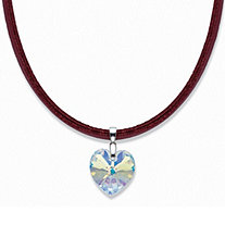 Heart-Shaped Yellow Crystal Pendant Necklace with Magnetic Red Leather Cord in Silvertone 18