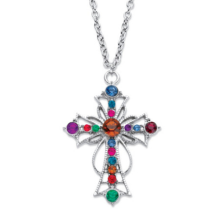 """Multi-Color Crystal Openwork Scrolled Cross Pendant Necklace in Silvertone 18""""-20.5"""" at PalmBeach Jewelry"""