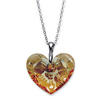 Butterscotch Faceted Crystal Heart-Shaped Pendant Necklace in Silvertone 16