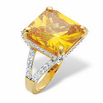 Princess-Cut Yellow Cubic Zirconia Cocktail Ring with White CZ Accents 9.50 TCW 14k Gold-Plated