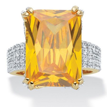 Emerald-Cut Yellow Cubic Zirconia Gold-Plated 21.40 TCW Cocktail Ring with White CZ Accents at PalmBeach Jewelry