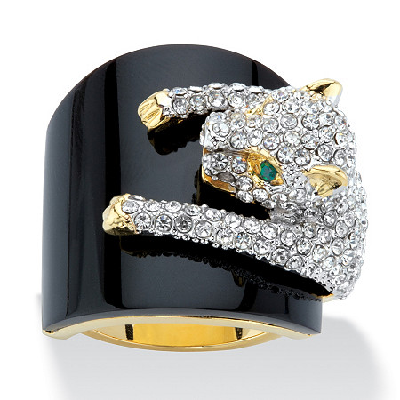 Genuine Black Onyx and Round Crystal Leopard Cocktail Ring with Green Crystal Accents 14k Gold-Plated at PalmBeach Jewelry