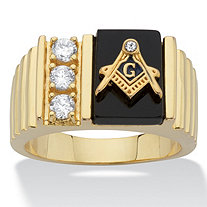 Men's Genuine Onyx and Cubic Zirconia Rectangular Watchband-Style Masonic Ring .30 TCW 14k Gold-Plated