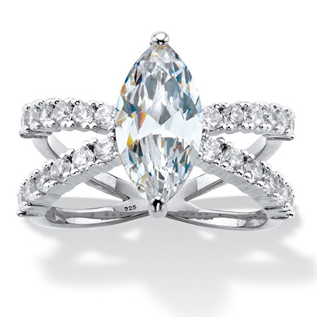 Marquise-Cut Cubic Zirconia Split-Shank Engagement Ring 3.27 TCW in Platinum over Sterling Silver at PalmBeach Jewelry