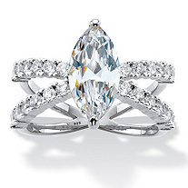 Marquise-Cut Cubic Zirconia Split-Shank Engagement Ring 3.27 TCW in Platinum over Sterling Silver