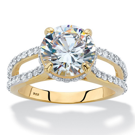 Round Cubic Zirconia Split-Shank Engagement Ring 5.08 TCW in 14k Gold over Sterling Silver at PalmBeach Jewelry