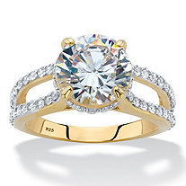 Round Cubic Zirconia Split-Shank Engagement Ring 5.08 TCW in 14k Gold over Sterling Silver