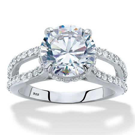 Round Cubic Zirconia Split-Shank Engagement Ring 5.08 TCW in Platinum over Sterling Silver at PalmBeach Jewelry