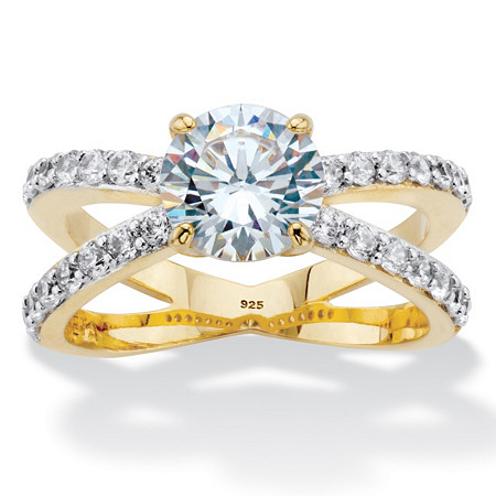 Round Cubic Zirconia 14k Gold over Sterling Silver Split-Shank Engagement Ring 2.70 TDW in 14k Gold over Sterling Silver at PalmBeach Jewelry