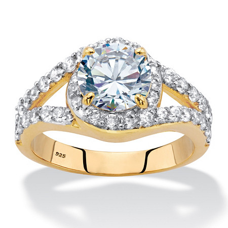Round Cubic Zirconia Split-Shank Engagement Ring 2.94 TCW in 14k Gold over Sterling Silver at PalmBeach Jewelry