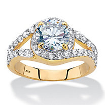 Round Cubic Zirconia Split-Shank Engagement Ring 2.94 TCW in 14k Gold over Sterling Silver