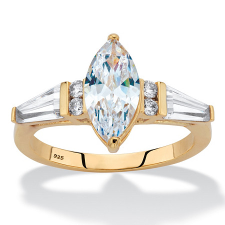 Marquise and Baguette-Cut Cubic Zirconia Engagement Ring 3.93 TCW in 14k Gold over Sterling Silver at PalmBeach Jewelry
