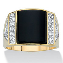 Men's Genuine Black Onyx and Cubic Zirconia Rectangular Dome Ring .83 TCW 14k Gold-Plated
