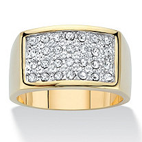 Men's Round Crystal Rectangular Shaped Dome Ring 14k Gold-Plated