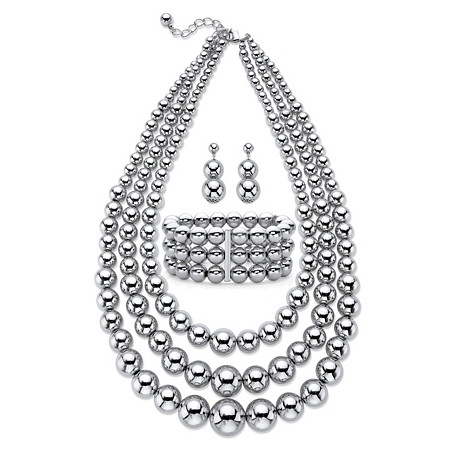 "Graduated Beaded 3-Piece Triple-Strand Necklace, Drop Earring and Stretch Bracelet Set in Silvertone 18""-21"" at PalmBeach Jewelry"
