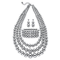 Graduated Beaded 3-Piece Triple-Strand Necklace, Drop Earring and Stretch Bracelet Set in Silvertone 18