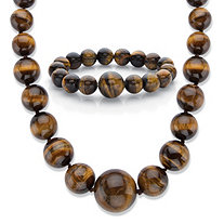"Genuine Tiger's Eye 2-Piece Graduated Beaded Necklace and Bracelet Set in Silvertone 18""-20.5"""