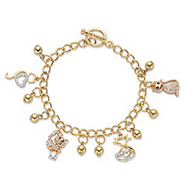 Round Crystal Cat Charm Beaded Toggle Bracelet in Gold Tone 7.5