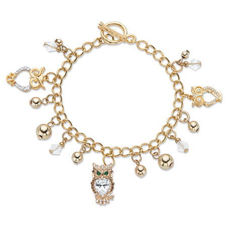 """Pear-Cut and Round Crystal Owl Charm Beaded Toggle Bracelet  in Gold Tone 7.5"""" at PalmBeach Jewelry"""