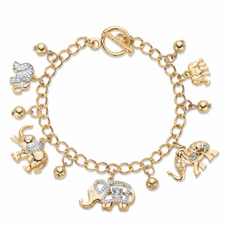 """Round Crystal Elephant Charm Beaded Toggle Bracelet in Gold Tone 7.5"""" at PalmBeach Jewelry"""